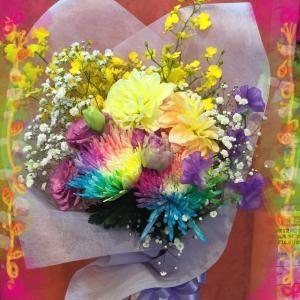 レインボーマムを入れた 御供え花束